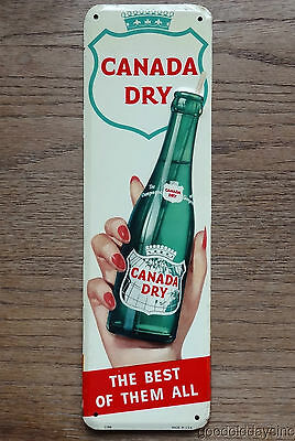 "Rare Canada Dry Door Push Sign Girl Offering Bottle - ""The Best Of Them All"" EX"