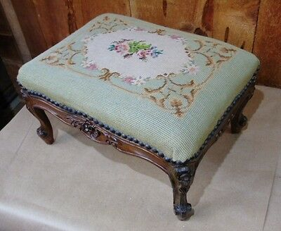 Antique Vintage Carved NEEDLEPOINT Ottoman FOOT STOOL