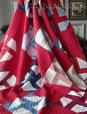 "Lots of Red! ANTIQUE c1900 Signature Friendship QUILT  81"" x 69"""