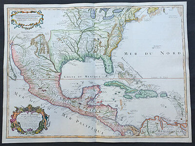 1708 Delisle Large Old, Antique Map of Spanish, French and British North America