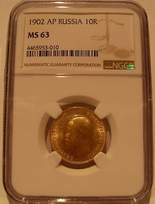 Russia 1902 AP Gold 10 Roubles NGC MS-63 Nicholas II