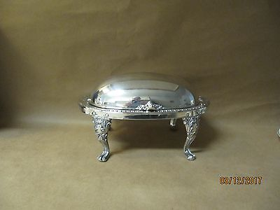 Sheridan Silverplate Roll Top Footed Butter Dish w/ Liner --- Shell & Gadroon