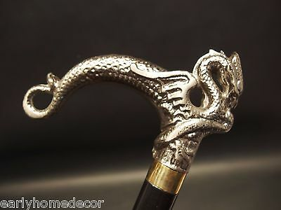 Vintage Antique Style Dragon Metal Slim Walking Stick Cane