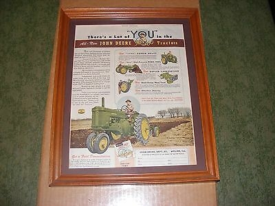 Framed Vintage Country Gentleman Magazine Colored Picture of JOHN DEERE 60