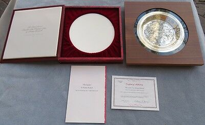 """Franklin Mint Sterling Silver Christmas Plate """"The Carolers"""" Norman Rockwell"""