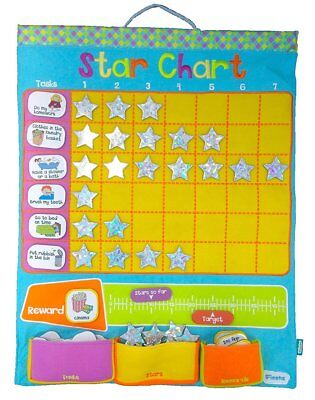 Large Blue Fabric Reward Star Chart - Suitable for Wall Hanging 43 x 38cm