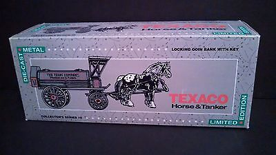 1991 Texaco Horse & Tanker Diecast Coin Bank With Key Collector Series #8 ERTL