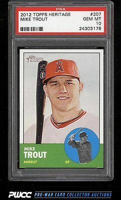 2012 Topps Heritage Mike Trout ROOKIE RC #207 PSA 10 GEM MINT (PWCC)