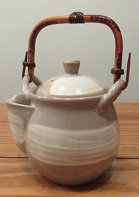 Heavy drip glaze Japanese teapot bamboo handle stamped/signed tea strainer pot