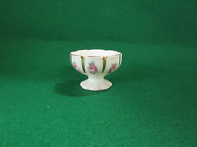 Porcelain German Salt Container or Dollhouse Punchbowl Roses with Gold