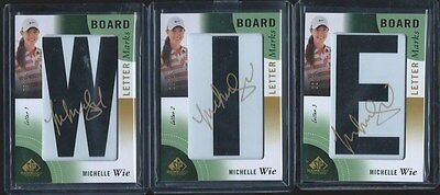 2013 UD Game Used LPGA Golf Letter Board 3 Autos Card Lot Set Michele Wie ALL/15