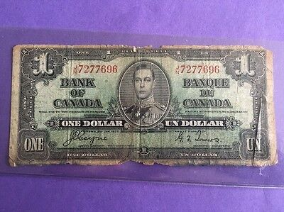 1937 Canada 1 Dollar Banknote, #696 Note Circulated Bill Old Money