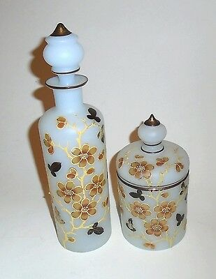 Victorian Frosted Glass Vanity Bottle and Jar with Hand Painted Decoration