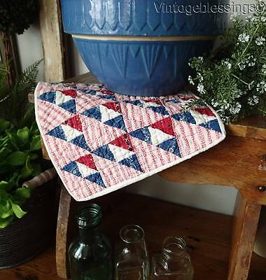 """Charming Antique Patriotic 1880s Doll Quilt TINY PIECES 9"""" Red White Blue"""