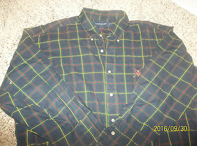 Men's Long sleeve button-front plaid shirt by Polo  Size XL multi
