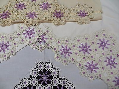 3 Vintage Antique Crochet PIllowcases & Bed Sheet