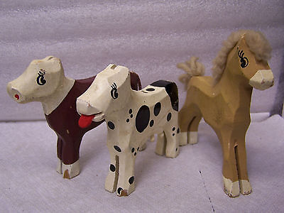 Lot of 3 Vintage Animal Figures Wood Carved Horse, Cow & Calf