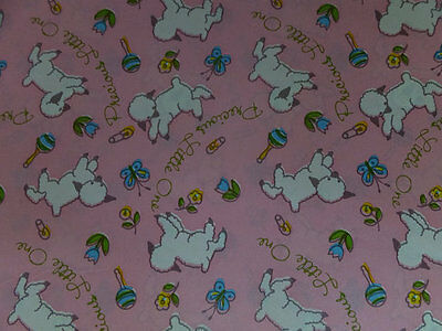 Vintage Precious Little One Lamb Pink Baby Shower Gift Wrap Wrapping Paper