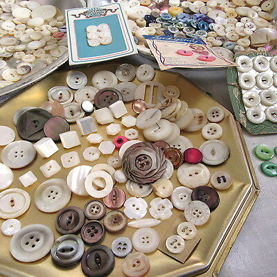 HUGE LOT 395 Mother of Pearl Antique Buttons Octagon Eteched Carved SMOKY SHELL+