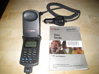 Vintage Sprint Motorola Startac Cell Phone With 2 Chargers And Manual