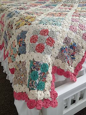 "Beautiful Vintage Cottage Home Yo Yo QUILT 89"" x 80"""