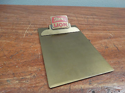 Vintage Lion Gas Station Small Brass Ticket Advertising Clipboard
