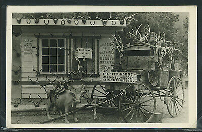 OR Gold Hill RPPC 1950's DEER HORNS JAIL Sherrif's Office ROADSIDE ATTRACTION