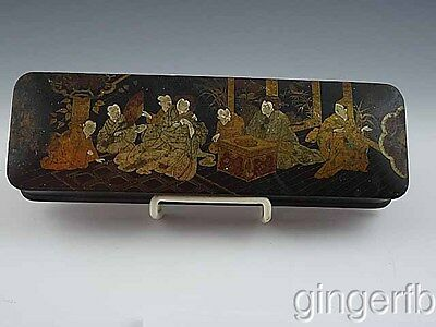 Edwardian Oriental Japanese Wooden Black Laquered Glove Box Red Interior