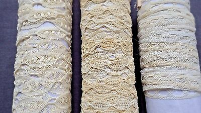 3 Lace Making Tapes 23 YARDS TOTAL: 2 Honiton, 1 w Openings for Ribbon, Dolls