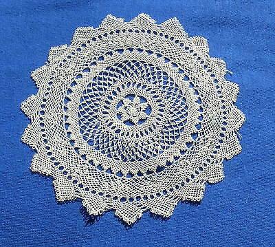 Unusual Antique  Armenian Needle Knotted Lace Doily