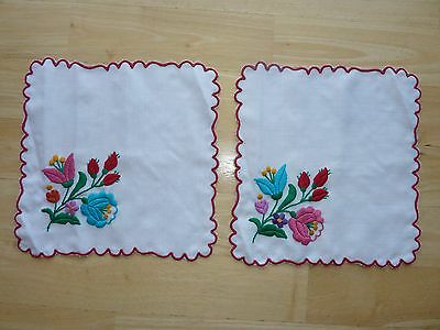 "Beautiful Vintage Embroidered Multi-Colored Floral Dollie 8"" Square Pair"