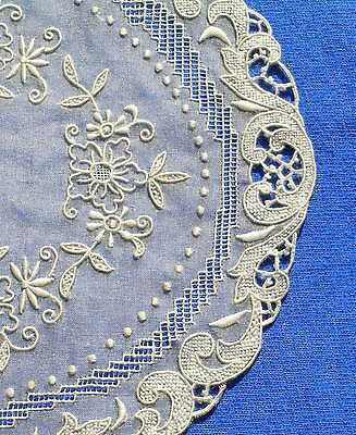 Antique  Handmade Embroidered Drawnwork Lace Doily Organza