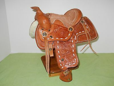 Small Western Leather Saddle For Display