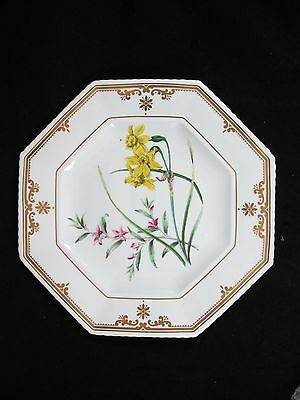 Spode Octagonal Dessert Plate Cabinet Collection Narcissus Crowea Bone China