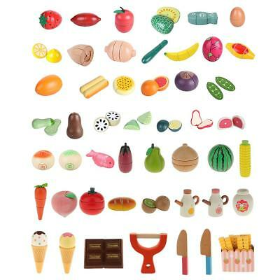 Wooden Magnetic Fruit & Vegetables Pretend Play Kitchen Food Toys for Toddler