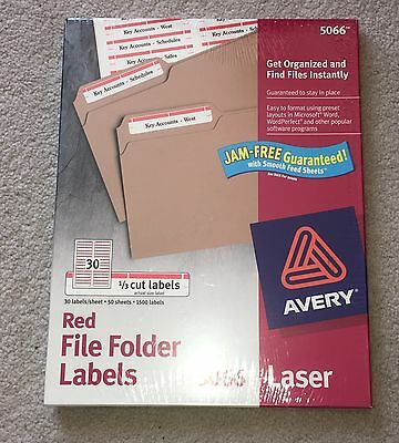 Sealed Avery Red File Folder Labels 5066 Laser 50 Sheets
