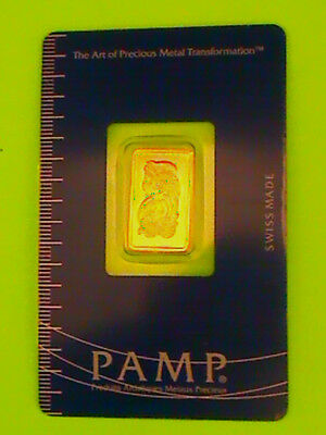 2.5 Gram Pamp Suisse .999 Gold Bar  Lady Fortuna  In Assay