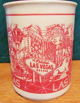 "Las Vegas   Etched Pottery Designed  Coffee Cup   4"" Tall,  8 Oz"