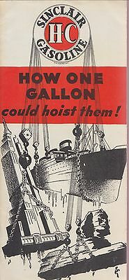 1934 SINCLAIR H-C GASOLINE How 1 Gallon Could Hoist Them BROCHURE Vintage 1930's