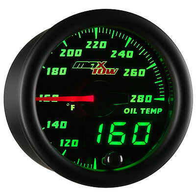 52mm MAXTOW DOUBLE VISION OIL TEMPERATURE GAUGE KIT - GREEN LED DIGITAL + ANALOG