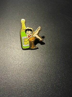 Betty Boop In Champagne Glass Next To Bottle Pin