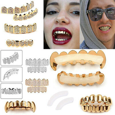Gold Grillz 24k Plated Teeth Mouth Grills Bling Hip Hop Gangsta Gangster