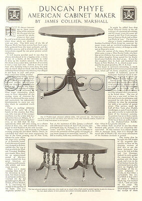 Antique 1915 DUNCAN PHYFE Table American Cabinet Maker FURNITURE Photo Article