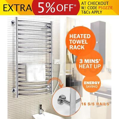 Electric Heated Towel Rack Warmer Stainless Steel Rail Bar Bathroom Wall Mounted