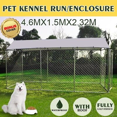 4.6mx1.5mx2.32m Pet Animal Run Enclosure Steel Fencing With Roof Cover