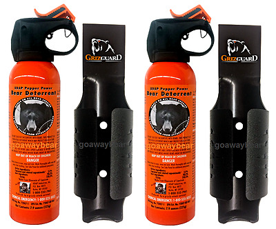 Lot of 2 - UDAP Pepper Power Bear Spray Repellant w/ Griz Guard Holster