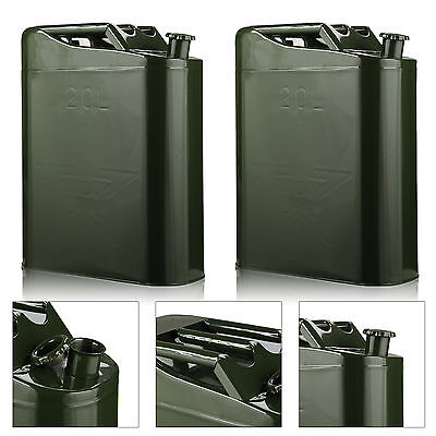 2 X 20 Liter Jerry Metal Military Can For Petrol Diesel Oil Fuel Water Container