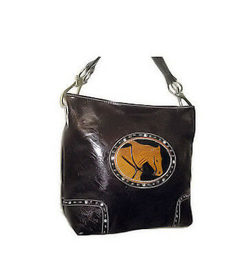 Horse & Western Equestrian Horse Head Handbag Coffee Bean Brown Country Road Usa
