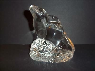 Vintage Mosser Glass Crystal Two Entwined Seals Seal Walrus Figurine Paperweight