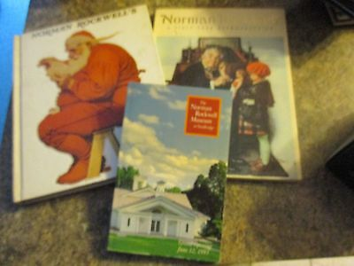 Lot of 3 books on Norman Rockwell - Christmas book - 60 year retrospective - FOL